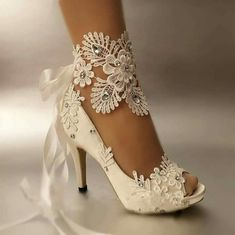 Details about su.cheny heel white ivory satin lace ribbon open toe Wedding Bridal shoes, Details about su.cheny heel white ivory satin lace ribbon open toe Wedding Bridal shoes heel white ivory satin lace ribbon open toe We. Peep Toe Wedding Shoes, Wedding Shoes Bride, Bride Shoes, Wedding Bridesmaids, Best Wedding Shoes, Wedding Dresses, Lace Bridal Shoes, Bridal Footwear, Bridal Gowns