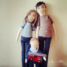 Personalised handmade fabric  dolls, Family dolls, embroidery, art dolls