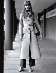 Freja Beha Erichsen for British Vogue by Alasdair McLellan, styled by Fran Burns. Perfect 70's styling - coat by Burberry, jeans and shoes by Prada.
