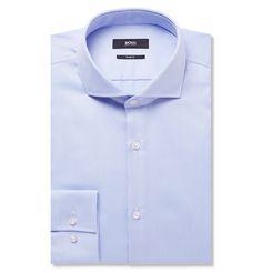 Hugo Boss - Blue Jason Slim-Fit Cotton Shirt MR PORTER