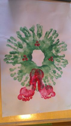 Handprint wreath with footprint bow - Beautiful Christmas gift that will always be cherished!