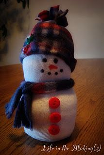 Sock Snowmen: made a sample one today and they are adorable! Youth/Teen craft ages 10+ (using hot glue).