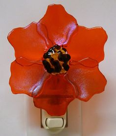 Fused glass poppy night light