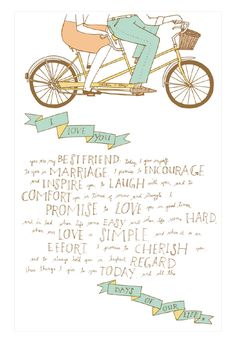 Adorable wedding vows (and a tandem! Wedding Vows, Wedding Bells, Diy Wedding, Dream Wedding, Wedding Day, Beer Wedding, Whimsical Wedding, Wedding Programs, Wedding Images
