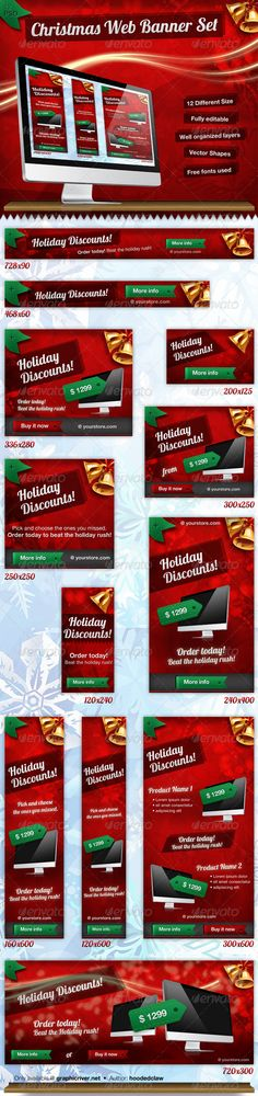 Christmas Web Banner SetDescription12 Different Size Fully editable Well organized layers Vector shapes Free fonts used You get12 PSD file with different size & layout Documentation (Contains the Font info)