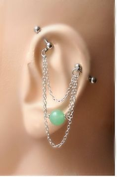 Industrial Barbell Ear Piercing-Earring Jewelry-Dangle Silver Chains-Surgical Steel-14g-14 G Jade Stone    Choose your stone! If you would like