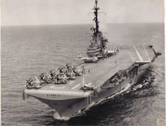 Essex class USS Hornet modernization, heading to Westpac during her 21 Jan – 25 Jul 1957 cruise. Uss Hornet Cv 12, Rota Spain, Essex Class, Navy Day, Navy Aircraft Carrier, Leyte, American Freedom, Army Vehicles, Military Weapons