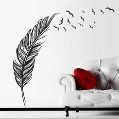 Home Decal Mural Art Decor Birds Flying Feather Removable Wall Vinyl Sticker Large Wall Stickers, Removable Wall Decals, Wall Stickers Murals, Wall Stickers Home, Decoration, Art Decor, Modern Room Decor, Panel Art, Art Mural