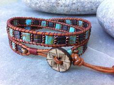 Tila Double Wrap Beaded Bracelet, Kidd Tila Wrap Bracelet,  Leather Beaded Bracelet, Mix Beaded Double Wrap, Boho Jewelry by LilPumpkinBeads on Etsy
