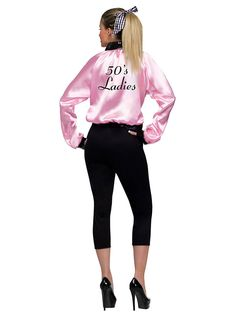 f you're going retro you might as well be part of a gang. The Women's Plus Size Pink Satin Lady Jacket will complete a 50s outfit