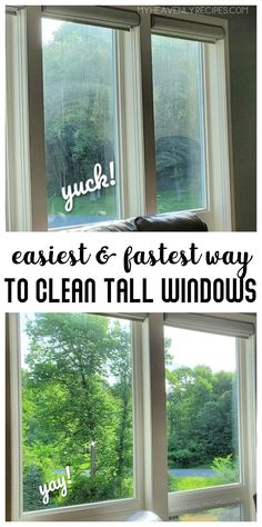 Best Way to Clean Windows- how to clean tall windows. Fastest and easiest way to get streak free windows! Recipe for a homemade window cleaner. Household Cleaning Tips, Cleaning Products, Cleaning Hacks, Cleaners Homemade, Diy Cleaners, Best Window Cleaner, Streak Free Windows, Tall Windows, Clean Clean