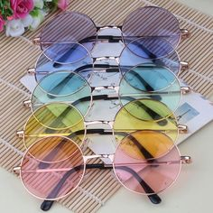 Candy Colored Circle Sunglasses John Lennon Inspired Retro So Kawaii Babe! Sunglasses For Your Face Shape, Round Sunglasses, Sunglasses Women, Retro Sunglasses, Circle Sunglasses Mens, Summer Sunglasses, Ray Ban Sunglasses, Circle Glasses, Cute Glasses