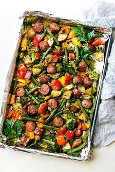 One Pan Healthy Sausage and Veggies | Chelsea's Messy Apron