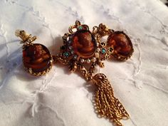 Vintage 1940 LISNER Turtle Shell Turquoise Pearl Cameo Brooch Pin with Earrings on Etsy, $65.00