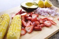 Roasted Corn, Strawberry and Avocado Salad  (whhhaaaaa??, I gotta try it)
