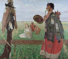 Wlastimil Hofman, Die Vogelscheuche, 1906, Öl auf Leinwand, 125 x 145 cm, Belvedere, Wien, Inv.-Nr. 858\nBelvedere, Wien