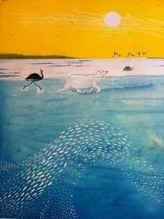 Het eiland - Marije & Ronald Tolman Beautiful Stories, Beautiful Artwork, Children's Book Illustration, Illustration Animals, Big Fish, Inktober, All Art, Childrens Books, Places To Visit