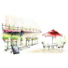 Beautiful Spring Romantic Outdoor Cafe illustration painting ❤ liked on Polyvore featuring backgrounds, sketches, drawings, art, fillers, doodle and scribble