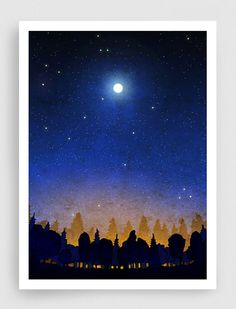 SALE, Illustration - The secret of the night forest (vertical) - Art illustration,Art prints,Love,Art Posters,stairs,moon,sky,night,blue,bla...