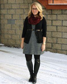 Grey knit shift dress, black blazer or cardigan, black belt, deep teal, red or magenta scarf