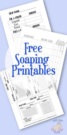 Free Soaping Printables! This digital download of soaping printables include recipe cards, cure cards and 2 free soaping recipes.