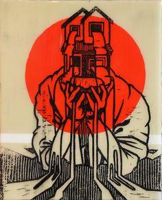 Reuben Kambeitz - HOME FLAG IX, 2015 Acrylic & Archival Ink Linocut on Paper Epoxy Overcoat 10˝ × 8˝