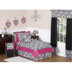 Sweet Jojo Designs Isabella Bedding Collection in Hot Pink/Black/White - BedBathandBeyond.com
