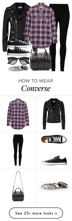 """""""Style #9834"""" by vany-alvarado on Polyvore featuring Yves Saint Laurent, Max Studio, Ray-Ban, Converse, Alexander Wang, MANGO, women's clothing, women, female and woman"""