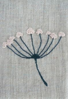 Embroidery on linen  http://www.flickr.com/photos/rebeccacason/2940230406/