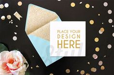 Gold Styled Photography Desk Mock Up  White Flower  Aerial
