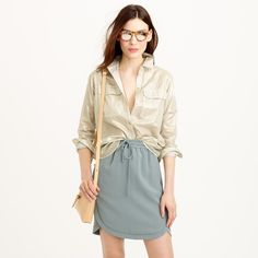 J.crew gold button down shirt size 0 Worn once. Boxy fit. Very light gold almost looks like silver J. Crew Tops Button Down Shirts