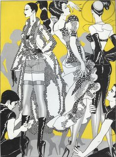 Illustration by Antonio Lopez (1943-1987), 1970's, Depeche Mode Magazine, fashion from Agnès Rispal for Neyret and Gribiche. (8)