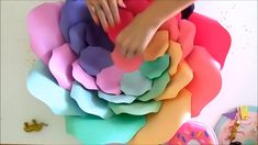 Rainbow Paper Flowers: How to Make Giant Rainbow Unicorn Flo.-Rainbow Paper Flowers: How to Make Giant Rainbow Unicorn Flowers DIY rainbow paper flowers. Spiral rainbow large paper flower tutorial and templates. Paper Flowers Craft, How To Make Paper Flowers, Large Paper Flowers, Paper Roses, Flower Crafts, Diy Flowers, Flower Paper, Hanging Paper Flowers, Paper Flowers Wedding