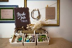 """Floral Branch Crown Assembly Station from a """"My Little Cinnabun"""" Rustic Glam Baby Shower via Kara's Party Ideas KarasPartyIdeas.com (49)"""
