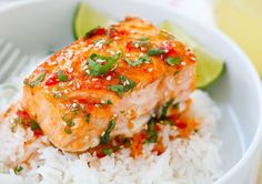 Sweet Chili Salmon   Asian Inspired Spicy Seafood Recipe by Homemade Recipes at http://homemaderecipes.com/healthy/dinner/best-fish-recipes/