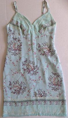 474e7a6d9a55 J. Jill Scarf Print Sun Dress Aqua Crepe de Chine Fully Lined Size Medium