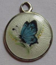 VTG ART DECO STERLING SILVER GUILLOCHE ENAMEL BLUE BUTTERFLY CHARM