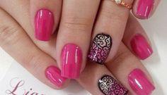 50+ Beautiful Pink and Black Nail Designs