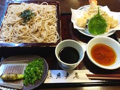 "Tempura and Japanese soba noodles at ""Musei-an""... - Japan Fukuoka dishes"