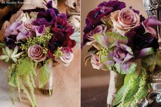 Plums--lavender roses, kale and purple anemone with touches of succulents, berzillia and trailing amaranthus.