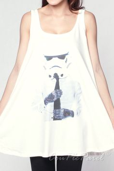StormTrooper Tank Dress Tattoo STAR WARS Robot White Tanks Tops Women Shirts T-Shirt Mini Dress Size M L