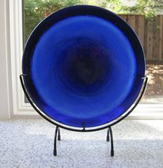 Blues Pot Melt  Fused Glass Sculpture by IdleCreativity on Etsy, $90.00