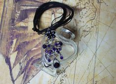 Fibromyalgia awareness necklace, purple and silver filagree butterfly pendant, multi strand cord with a button and hoop closure