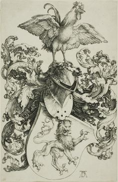 Albrecht Dürer  German, 1471-1528, Coat of Arms with Lion and Rooster