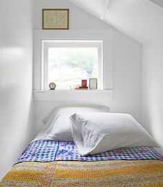 "sleeping nook (closet bed""room"") via Country Living Sleeping Nook, Attic Renovation, Home And Deco, White Bedroom, Bedroom Decor, Bedroom Nook, Closet Bed Nook, Kids Bedroom, Extra Bedroom"