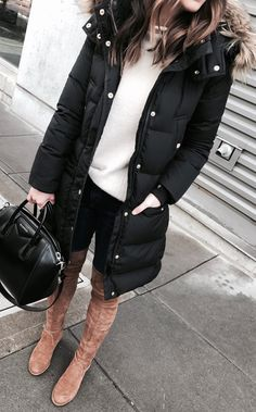 Black Puff Coat / White Knit / Black Skinny Jeans / Brown Velvet OTK Boots / Black Leather Tote Bag