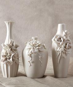 Set of 3 Capo-Di-Monte Ivory Rose Vases