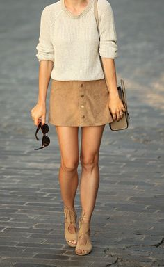 Cream colored sweater + suede mini skirt + lace up suede heels. This outfit is perfection.