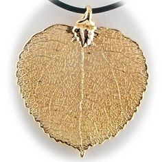 Gold Plated Aspen Real Leaf Pendant Rubber Cord Necklace 16 inch Pendants by Joyful Creations. $17.99. Save 58%!