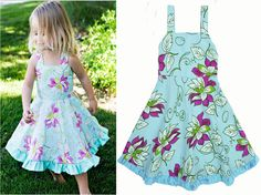 Toddler girl dresses summer 2016 flower Suspenders Toddler girl dress blue Toddler girl party dresses high quality kids clothes